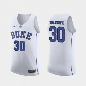 White Duke #30 March Madness Basketball Men's Authentic Antonio Vrankovic College Jersey