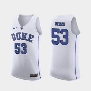 Brennan Besser College Jersey White Authentic #53 Duke March Madness Basketball Men's