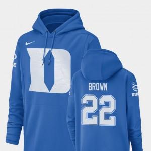 Brittain Brown College Hoodie Duke University Football Performance #22 Champ Drive Royal For Men's