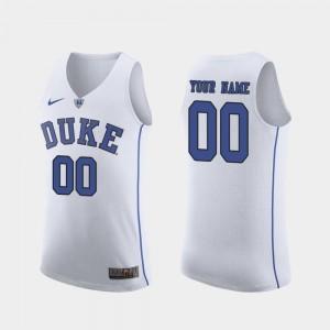 Duke University Authentic #00 White College Custom Jerseys Mens March Madness Basketball