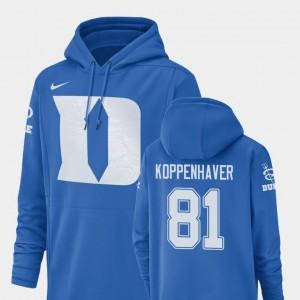 #81 Davis Koppenhaver College Hoodie Football Performance Champ Drive Royal For Men Duke University