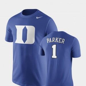 Future Stars Jabari Parker College T-Shirt Basketball Replica For Men's Royal #1 Duke Blue Devils