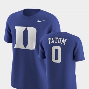 Future Stars Replica Royal Duke Blue Devils #0 Men Jayson Tatum College T-Shirt