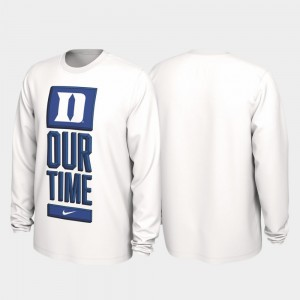 Duke 2020 March Madness College T-Shirt White Our Time Bench Legend Men