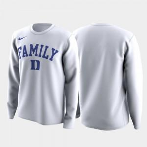Family on Court College T-Shirt March Madness Legend Basketball Long Sleeve For Men White Duke