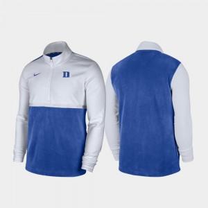 College Jacket Quarter-Zip Pullover White Royal For Men Color Block Blue Devils