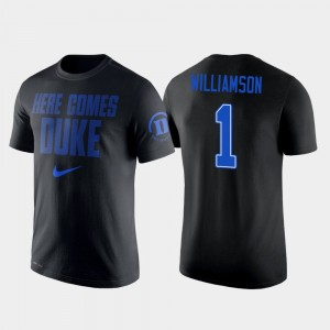 Mens #1 Zion Williamson College T-Shirt Basketball Duke Black 2 Hit Performance