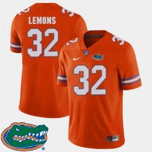 Adarius Lemons College Jersey Football Florida Gators Orange #32 2018 SEC For Men's