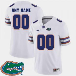 For Men #00 Florida Football College Custom Jersey White 2018 SEC