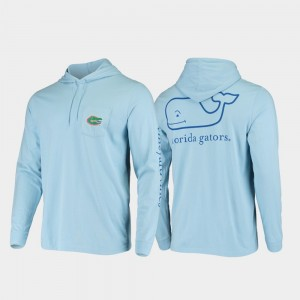 College T-Shirt UF Whale Light Blue Hooded Long Sleeve For Men