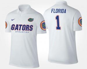 No.1 Short Sleeve Men College Polo Gators #1 White