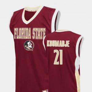 Fadeaway For Men's Basketball Christ Koumadje College Jersey #21 Seminole Red