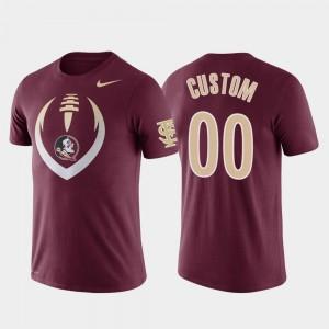 Garnet Performance College Customized T-Shirts For Men Florida State Seminoles #00 Football Icon