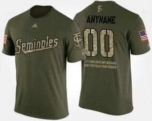 Camo College Custom T-Shirt Military Short Sleeve With Message Seminole Men's #00