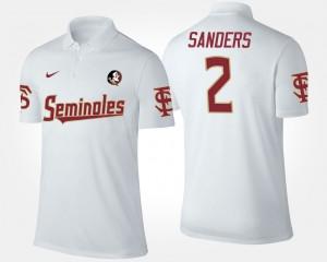 Mens White FSU Seminoles #2 Deion Sanders College Polo
