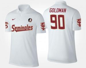 FSU Seminoles White Men's Eddie Goldman College Polo #90