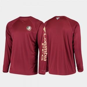 College T-Shirt Florida State Seminoles Garnet Omni-Shade PFG Terminal Tackle Long Sleeve For Men's
