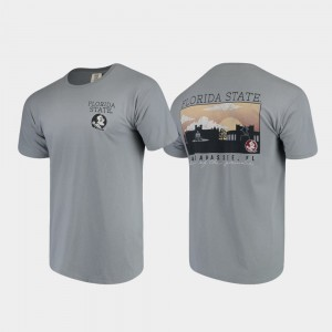 College T-Shirt Campus Scenery Comfort Colors Gray For Men's Florida ST