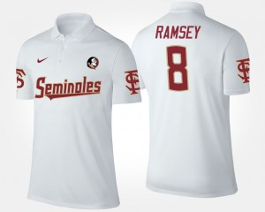 Mens White #8 Seminoles Jalen Ramsey College Polo