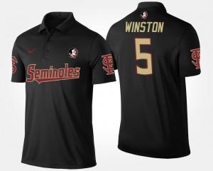 Men's Black Seminole #5 Jameis Winston College Polo