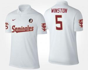 #5 Seminoles Jameis Winston College Polo White Men
