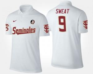 White #9 Florida State Seminoles Men's Josh Sweat College Polo