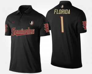 Black No.1 Short Sleeve Mens College Polo #1 Florida State Seminoles