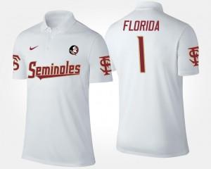 For Men's #1 White Seminole College Polo No.1 Short Sleeve