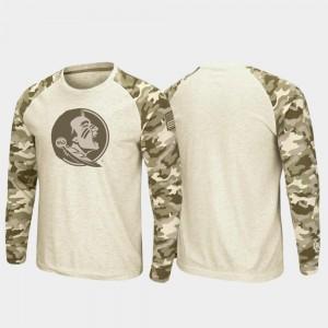 Men Raglan Long Sleeve Desert Camo Florida State Seminoles Oatmeal OHT Military Appreciation College T-Shirt