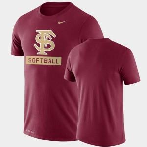 Men's College T-Shirt Garnet Seminoles Drop Legend Performance Softball