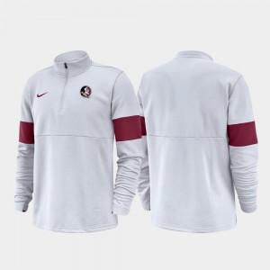 FSU Seminoles 2019 Coaches Sideline Half-Zip Performance White College Jacket For Men's