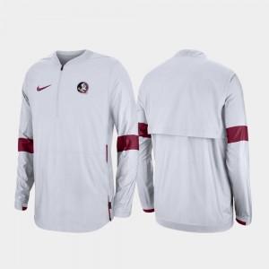 College Jacket Quarter-Zip Florida ST White 2019 Coaches Sideline For Men