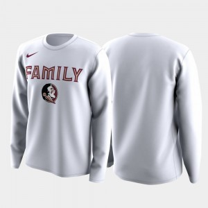 Men's March Madness Legend Basketball Long Sleeve Family on Court Florida State Seminoles White College T-Shirt