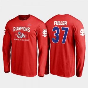 For Men's Red Fresno State Bulldogs 2018 Las Vegas Bowl Champions #37 Blitz Long Sleeve Asa Fuller College T-Shirt