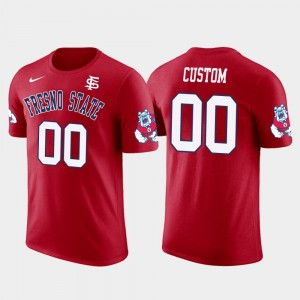 Fresno State Bulldogs #00 Red Mens Future Stars Cotton Football College Customized T-Shirt