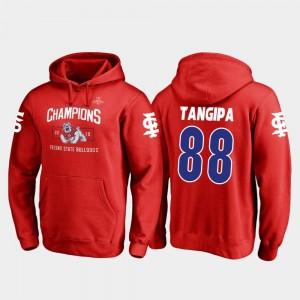 2018 Las Vegas Bowl Champions David Tangipa College Hoodie Red Mens Blitz Fresno State Bulldogs #88