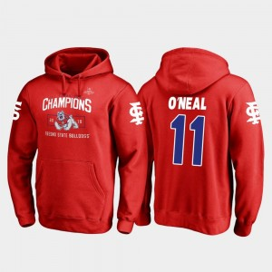 Dejonte O'Neal College Hoodie Blitz #11 Men Fresno State 2018 Las Vegas Bowl Champions Red