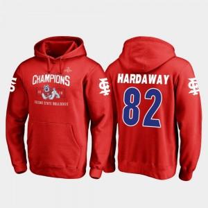 #82 Delvon Hardaway College Hoodie Men Red Fresno State Bulldogs 2018 Las Vegas Bowl Champions Blitz