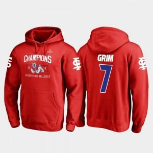 Derrion Grim College Hoodie #7 2018 Las Vegas Bowl Champions Men Blitz Red Fresno State Bulldogs