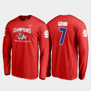 For Men's Red Fresno State 2018 Las Vegas Bowl Champions #7 Blitz Long Sleeve Derrion Grim College T-Shirt