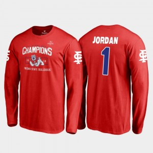Red Blitz Long Sleeve 2018 Las Vegas Bowl Champions #1 Fresno State Jamire Jordan College T-Shirt For Men's