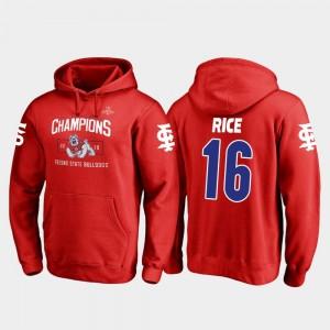 Fresno State Bulldogs Jared Rice College Hoodie Red For Men #16 Blitz 2018 Las Vegas Bowl Champions