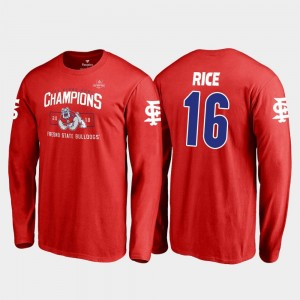 Jared Rice College T-Shirt Men 2018 Las Vegas Bowl Champions Fresno State Bulldogs #16 Red Blitz Long Sleeve