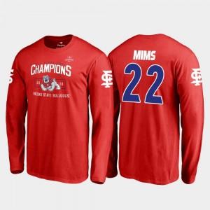 2018 Las Vegas Bowl Champions Red Blitz Long Sleeve #22 Fresno State Jordan Mims College T-Shirt For Men's