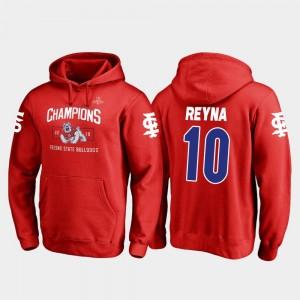 Blitz Mens Red 2018 Las Vegas Bowl Champions Fresno State #10 Jorge Reyna College Hoodie