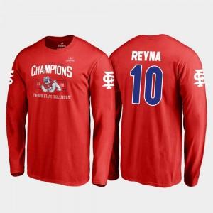 Red Blitz Long Sleeve Fresno State 2018 Las Vegas Bowl Champions Jorge Reyna College T-Shirt For Men #10