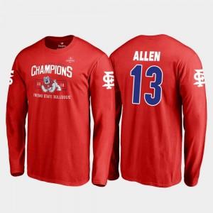 2018 Las Vegas Bowl Champions Red #13 Fresno State Bulldogs Blitz Long Sleeve Mens Justin Allen College T-Shirt