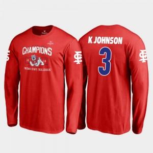 #3 2018 Las Vegas Bowl Champions Blitz Long Sleeve For Men's KeeSean Johnson College T-Shirt Red Fresno State Bulldogs