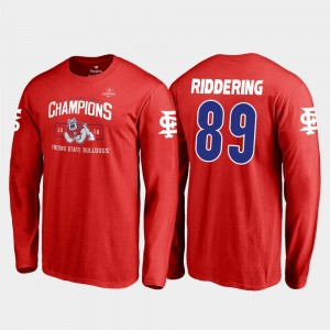 Red 2018 Las Vegas Bowl Champions Fresno State Bulldogs #89 Kyle Riddering College T-Shirt For Men Blitz Long Sleeve