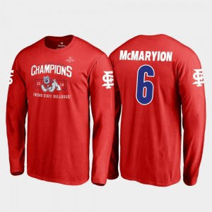 2018 Las Vegas Bowl Champions For Men's Blitz Long Sleeve Marcus McMaryion College T-Shirt #6 Fresno State Red